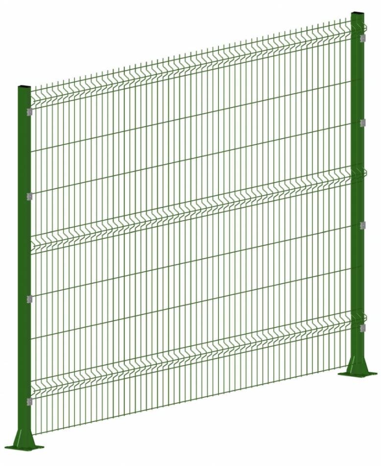 Секция 3D ограждения  ЭКО-4 пруток 4мм ширина 2700мм RAL6005